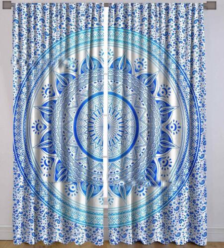 Indian Blue Cotton Mandala Wall Handing Home Door Window Curtain Drape Panel 2PC