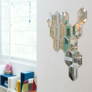 New Acrylic Hexagon Wall Mirror Home Art Decor 13 7 X 12cm Interior Design Ebay