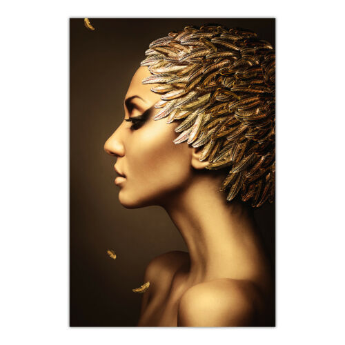 Gold Feather Women Makeup Canvas Print Poster Picture Wall Home ArtDecor