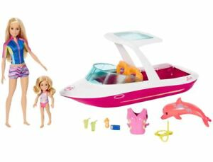 NEW Mattel Barbie Dolphin Magic Ocean View Boat with Barbie & Chelsea Gift Set