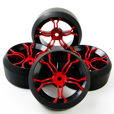 4X RC Drift Tires Wheel Rims Fit HSP 1:10 On-Road Car MPNKR+PP0370 6mm Offset