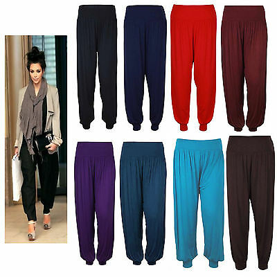 New Womens Harem Baggy Full Length Ladies Plain Ali Baba Leggings Trousers Pants