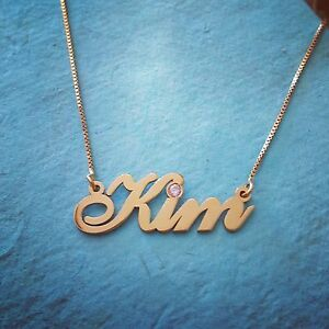 14k gold chain 14 karat gold any name necklace real gold nameplate image is loading 14k gold chain 14 karat gold any name aloadofball Images