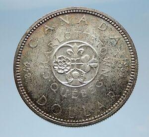 1964-CANADA-Quebec-Charlottetown-Commemorative-BIG-SILVER-Dollar-Coin-i65582