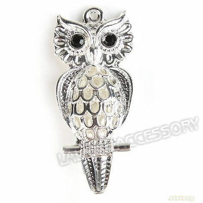 25pcs 142272 New Owl  Rhinestone Charm Antique Alloy Silver Plated Pendant
