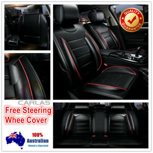 Image Is Loading Padded Comfort Black PU Leather Car Seat Covers