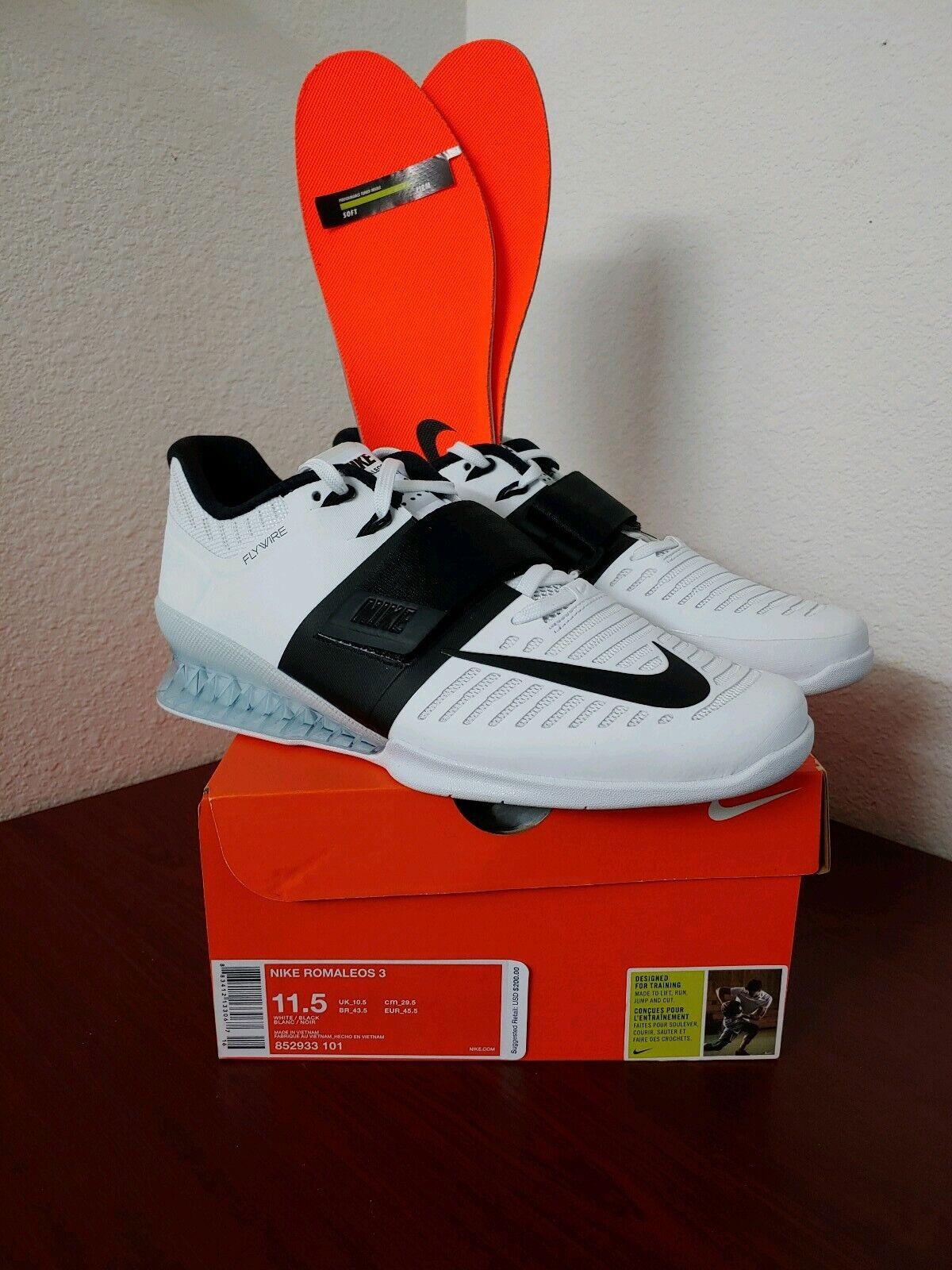 Nike Romaleos 3 Training shoes White Black Men Sz 11.5 (852933-101)