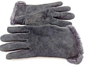 2863998c2 Black Suede Gloves Ladies Womens Sz Large Warm Fuzzy Fleece Lining ...