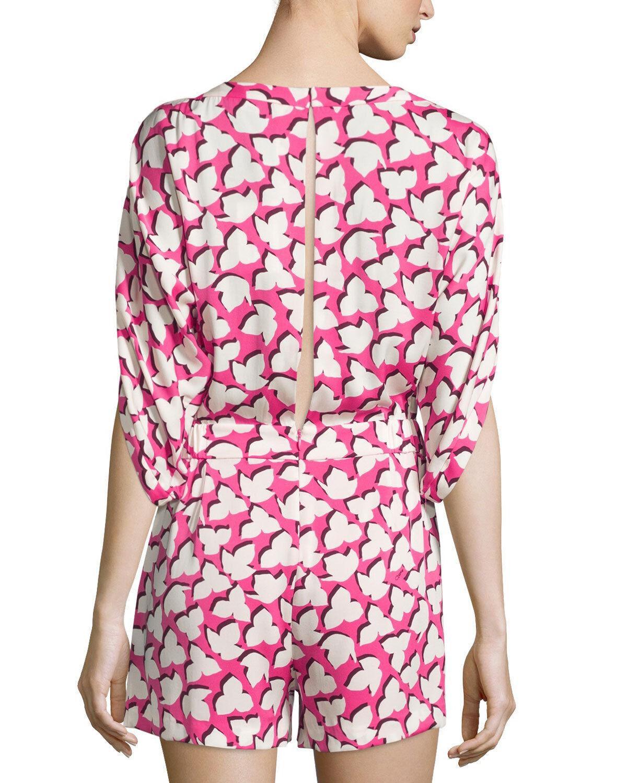 BNWT DVF Diane von Furstenberg Soleil 3 4-Sleeve Silk Romper Floral Pink 6 428