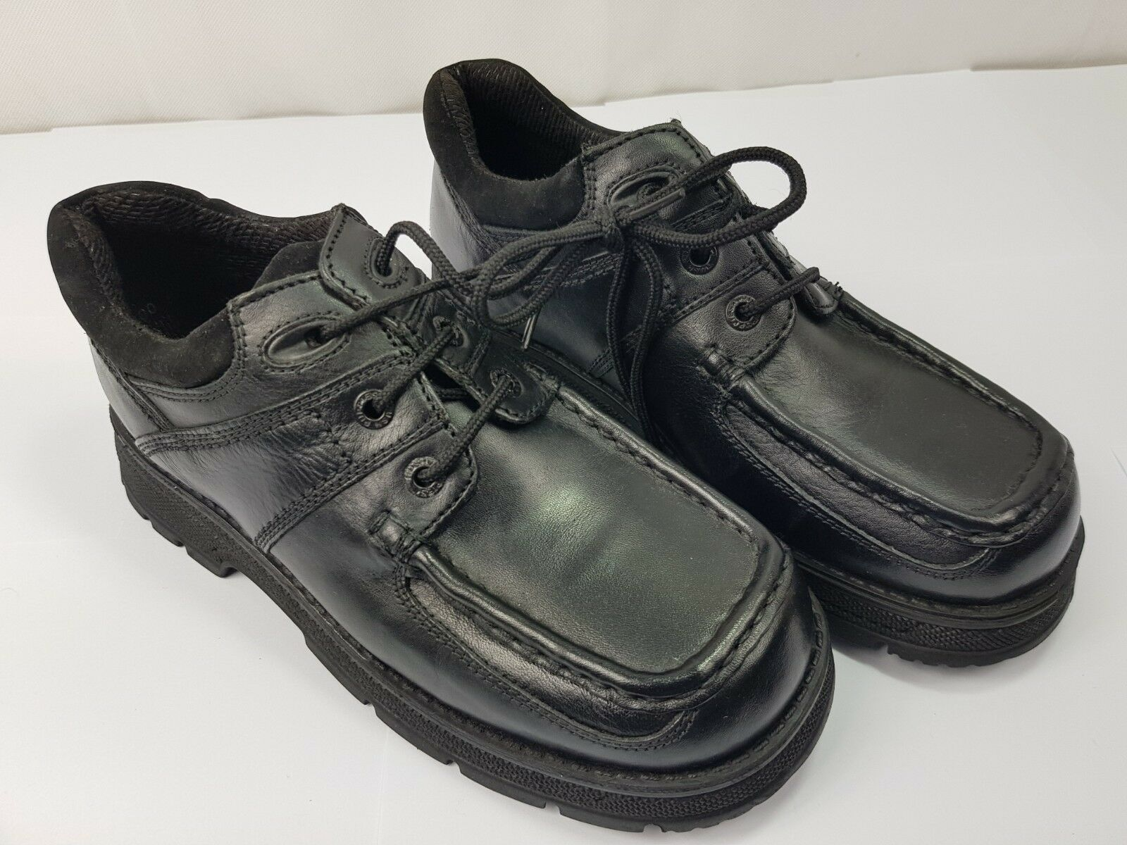 HUSH PUPPIES Carriage Boys Lace-up Black Leather School shoes UK 2.5 Ex Display
