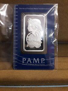 Ingot Swiss Made PAMP Suisse 1 Ounce Fine Silver 999.0 31.103g Rectangular Bar