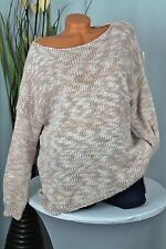 GR:42-48 OVERSIZE  PULLOVER  STRICK PULLI  ZICK ZACK MUSTER  ITALY  LACHS/WEIß