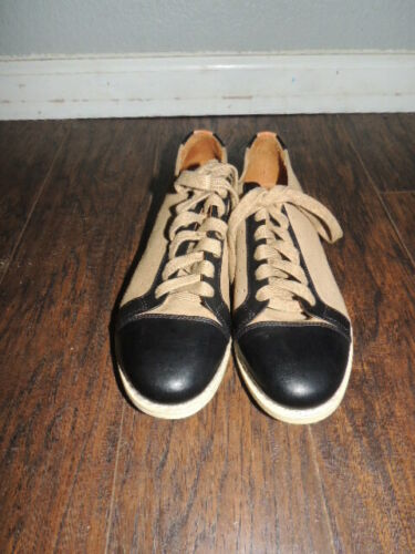 THE OFFICE OF ANGELA SCOTT   TAN SUEDE AND BLACK L