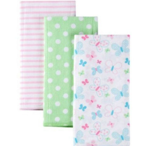 GERBER BABY GIRL/'S 3-Pack Flannel Burp Cloths Green Butterflies NWT