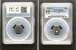 Third Reich 1 Pfennig 1943 A PCGS MS63 Mint State