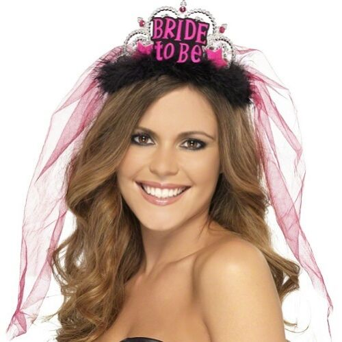 Ladies Hen Party Bride To Be Tiara with Lace Veil Pink//Black by Smiffys New