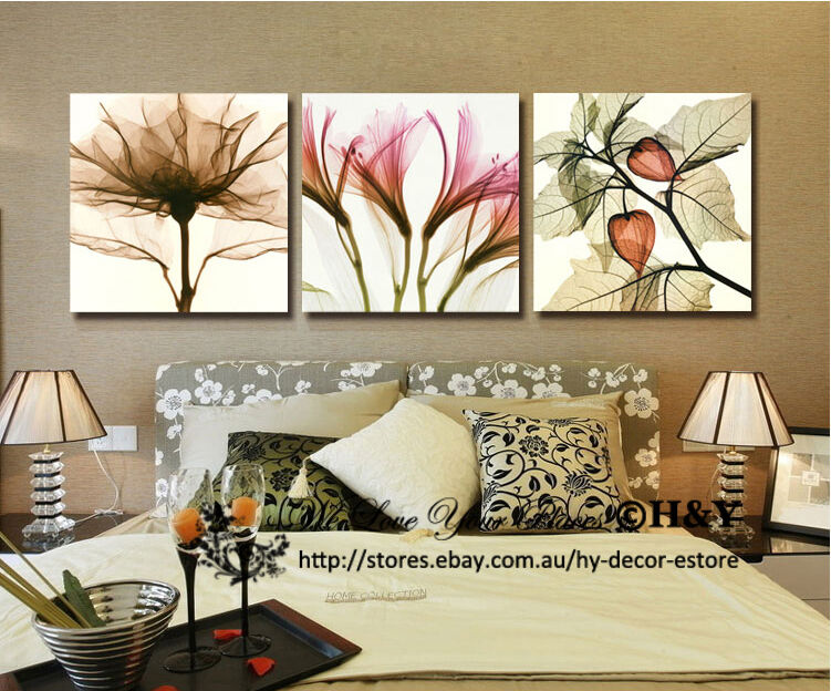 3 50x50x3cm Transparent Flower Modern Canvas Wall Art Wall Decor Prints On Frame