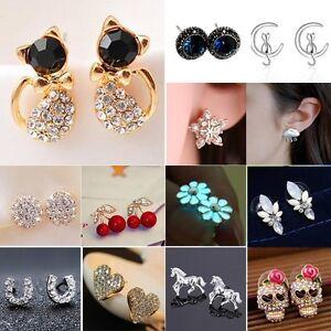 Mini-Flower-Cat-Crystal-Rhinestone-Ear-Stud-Earrings-Wedding-Women-Lady-Jewelry