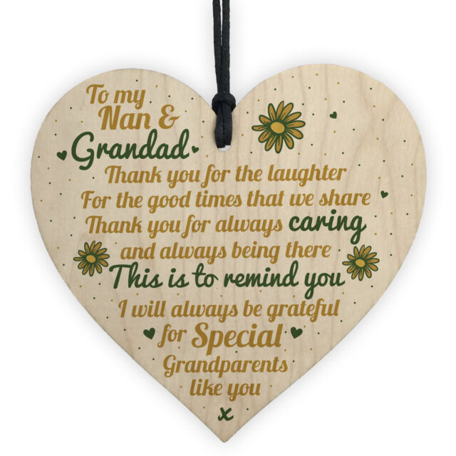 Grandparents Gifts Grandad Grandpa Grandma Nan Wood Heart Plaque Thank You Gift for sale online | eBay