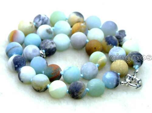 "6mm Round Frost Blue Mix Amazonite Stone 17/"" Chokers Necklace for Women Jewelry"
