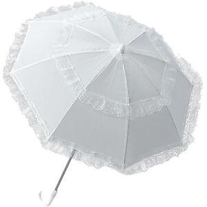 Rueschenschirm-Weiss-Spitzen-Schirm-Barock-Kinderschirm-Regenschirm-Sonnenschirm