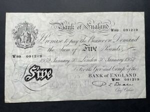 White Fiver - Five Pounds Note. 30th January 1952 - Beale - Great Condition