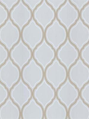 Ice Blue Trellis with Beige and White Unpasted Wallpaper PA111203