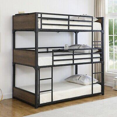 Industrial Adult Teen Heavy Duty Metal Triple Bunk Bed Twin With Slats Black Ebay