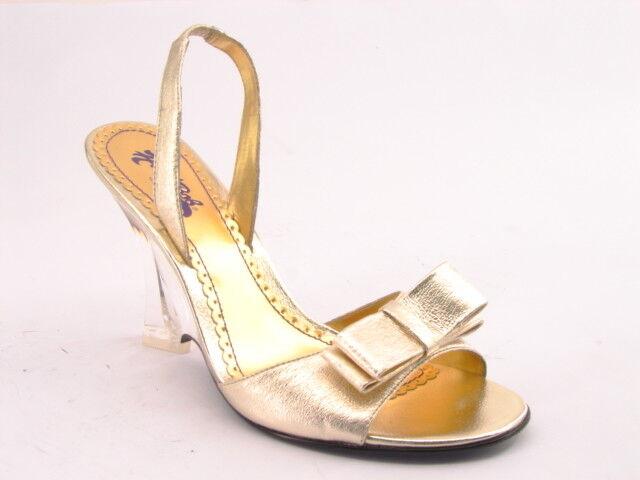 ny HARE BOB kvinnor guld läder Open Toe hög klack Slingback Sandal skor