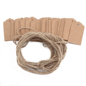 100pcs-Brown-Kraft-Paper-Gift-Tags-Wedding-Scallop-Label-Blank-Luggage-Strings