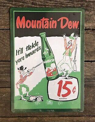 MOUNTAIN DEW ROUND TIN SIGN SODA POP TICKLE METAL POSTER WALL ART