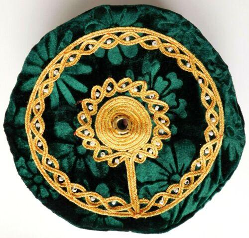 Flowery velvet smoking cap hat NEW floral green thinking cap L XL 58 59 60 61