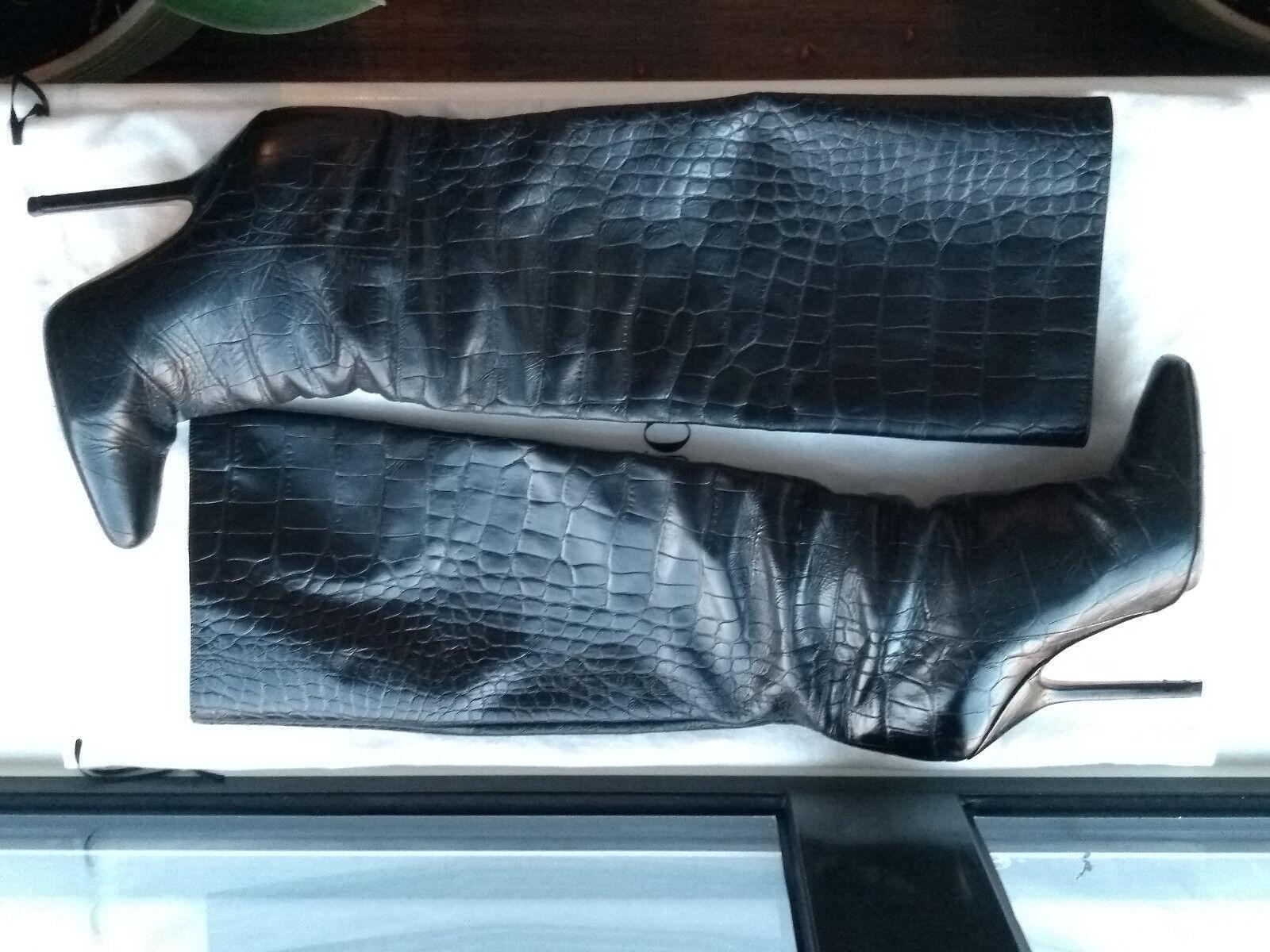 Emilio Pucci runway schwarz crocodile print leather Stiefel Größe 3 - EUR 36