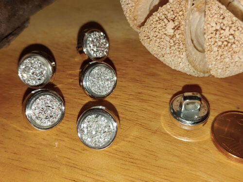 Eyecatcher Glitzer Knopf m Steg Knöpfe 1cm 10mm 5 Stück NEU Silber