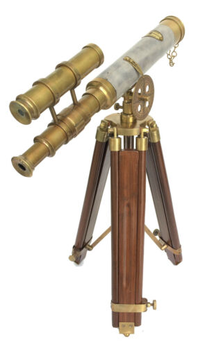 ANTIQUE NAUTICAL BRASS LEATHER DOUBLE BARREL TELESCOPE VINTAGE WOODEN STAND