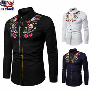Mens-Cowboy-Western-Rockabilly-Embroidered-Skull-Floral-Dress-Shirt-Tops-Blouse