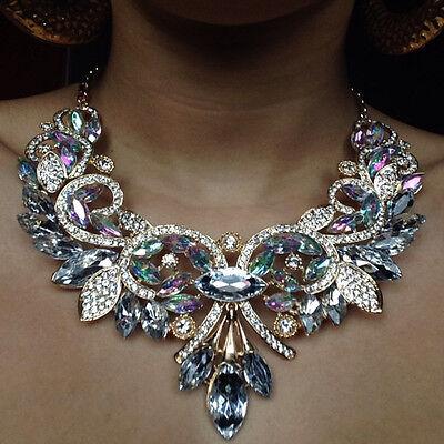 Brand Vintage Alliage Fleur de Cristal Statement Collier Pendentif Avec Boucles d/'oreilles Set