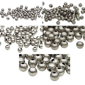 Huge lot of 500 antique silver finished steel metal round for Round metal letter beads