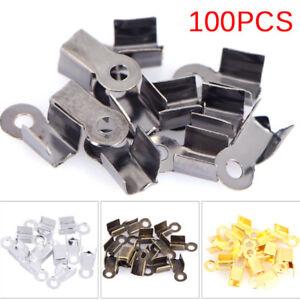 100PCS-End-Caps-Clasps-Leather-Cord-Crimp-Bead-Connectors-DIY-Jewelry-Finding-EL