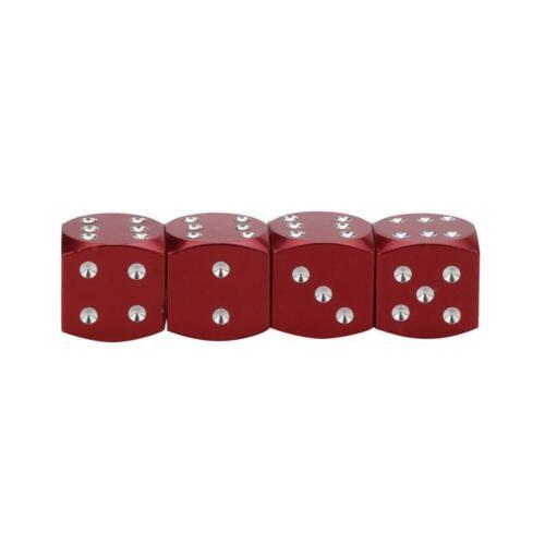 rouge 4 bouchons de valve en aluminium forme de dé Couleur Auto Moto Vélo