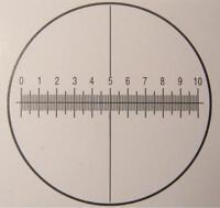 #006A Microscope eyepiece graticule Ø 25 mm. 10 mm./100 + cross-hair  Micrometer