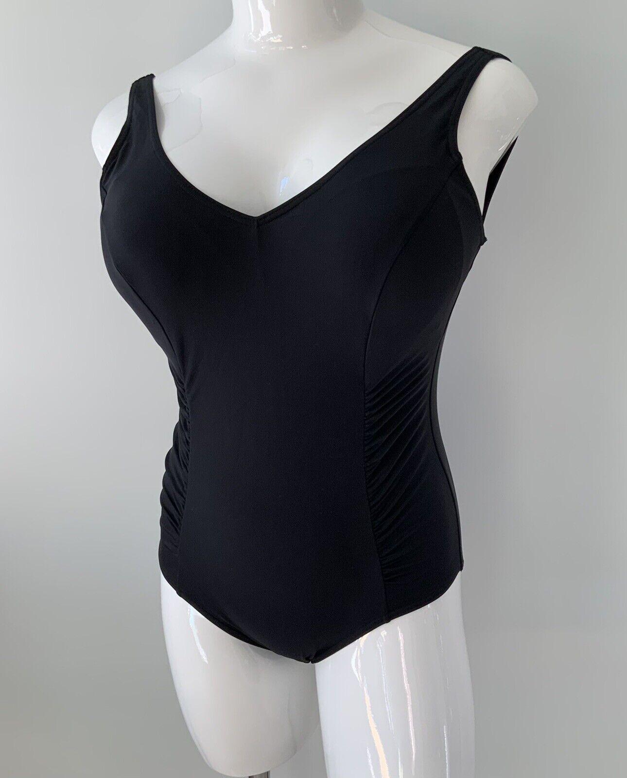 John Lewis Black Side Ruched Swimsuit UK 18