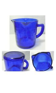 New Cobalt Blue Glass 1 Cup Embossed Measuring Cup 3 Pouring Spouts