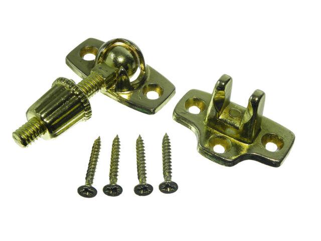 Screw Down Sash Window Fastener Catch Lock Eb Brass Plated + Screws Pack Of 6