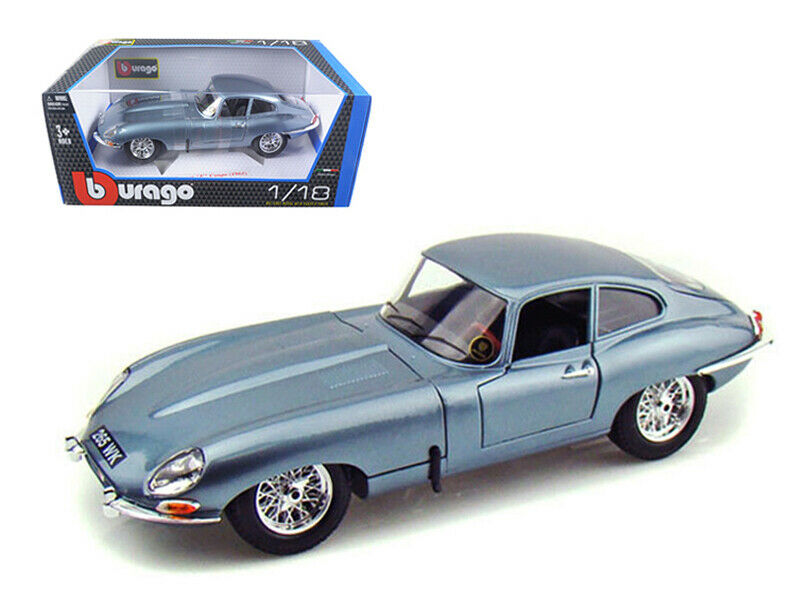 Bburago 1 18 1961 Jaguar E Type Coupe Diecast Model Car Light bluee 12044