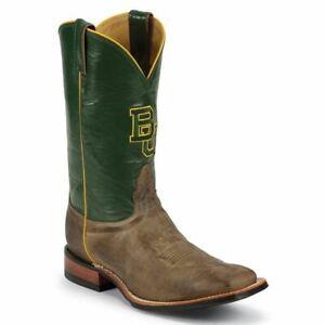 Nocona-MDBU20-Men-039-s-Baylor-Tan-Vintage-Green-Cowhide-Branded-College-Boots