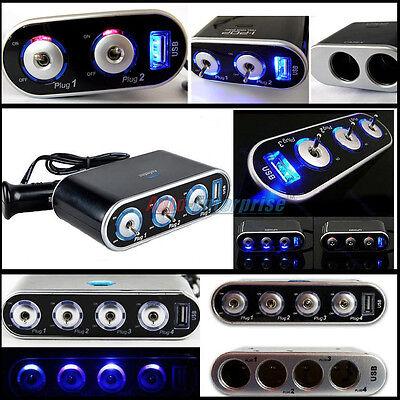 Car Cigarette Lighter Socket Splitter Charger DC 12V/24V USB  + LED Light Switch