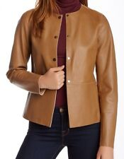 New with Defect $1050 VINCE Snap Front Leather Women Jacket Sz S