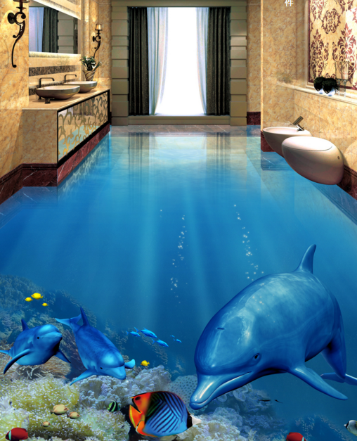 3D Shiny Dolphins 42 Floor WallPaper Murals Wall Print 5D AJ WALLPAPER UK Lemon