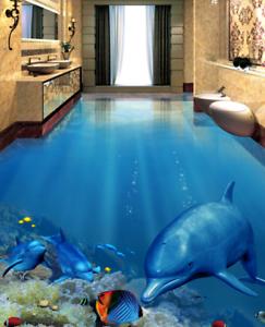 3D brillante delfines Papel Pintado Mural Parojo Impresión de suelo 42 5D AJ Wallpaper Reino Unido Limón